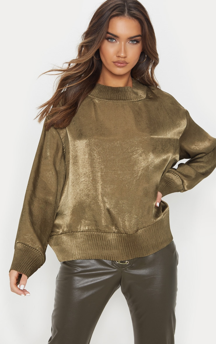 khaki satin plisse trim sweater