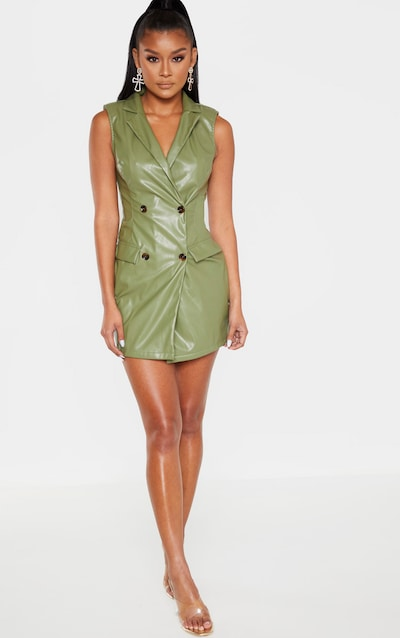 Khaki Sleeveless Faux Leather Blazer Dress