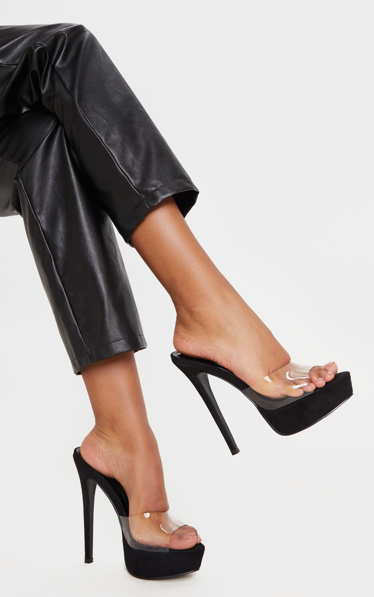 Black High Platform Clear Mule Sandals 1