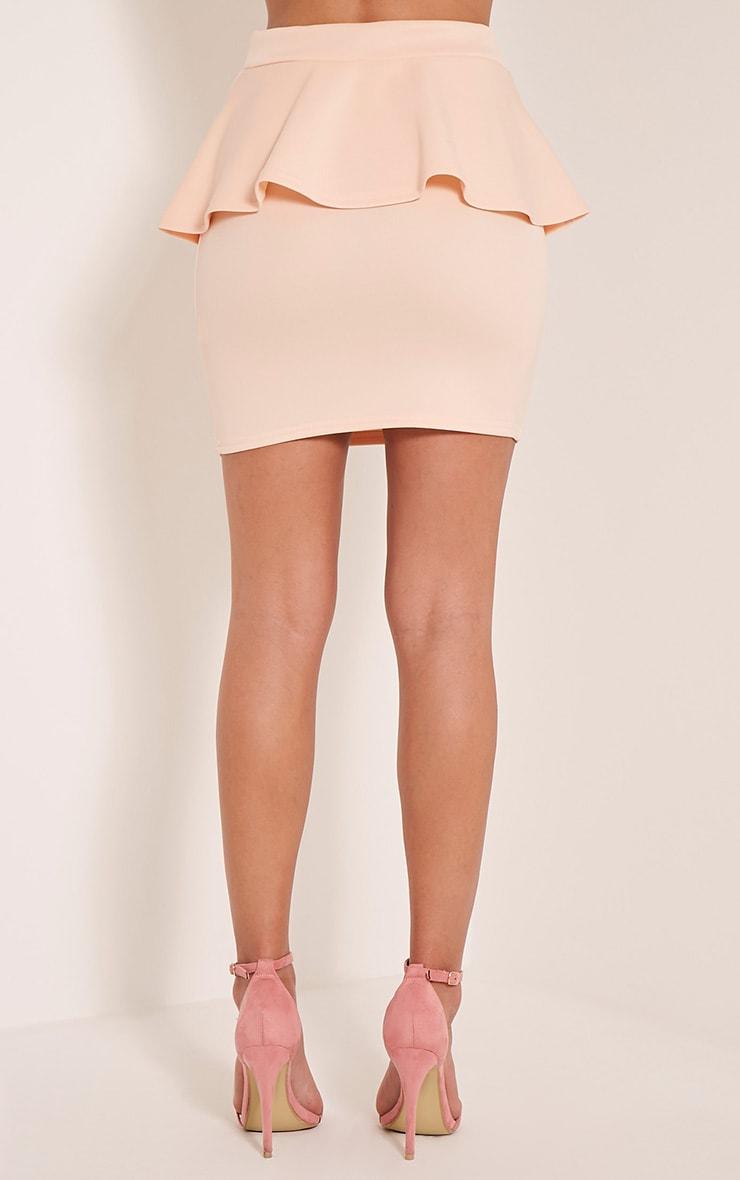 Mariela Nude Peplum Scuba Mini Skirt 5