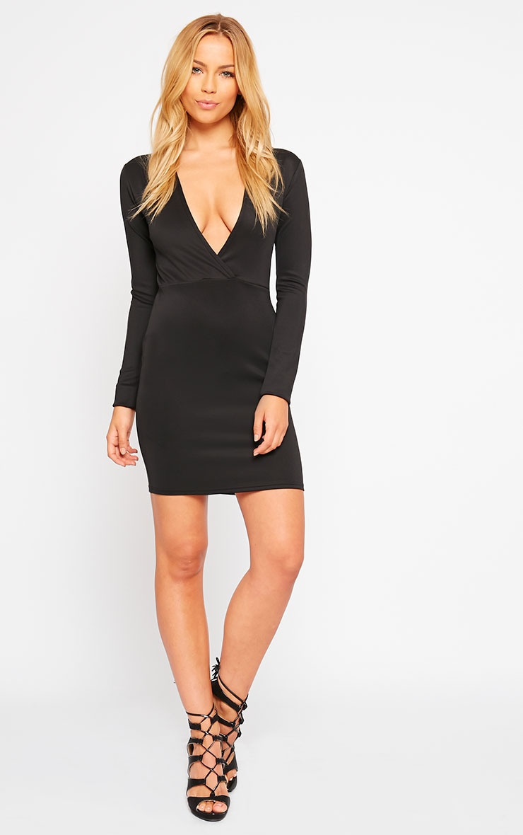 Cici Black Scuba Plunge Neck Dress 3