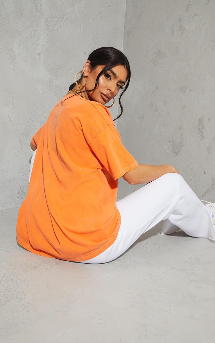 Orange Rhode Island Washed Printed T Shirt 2