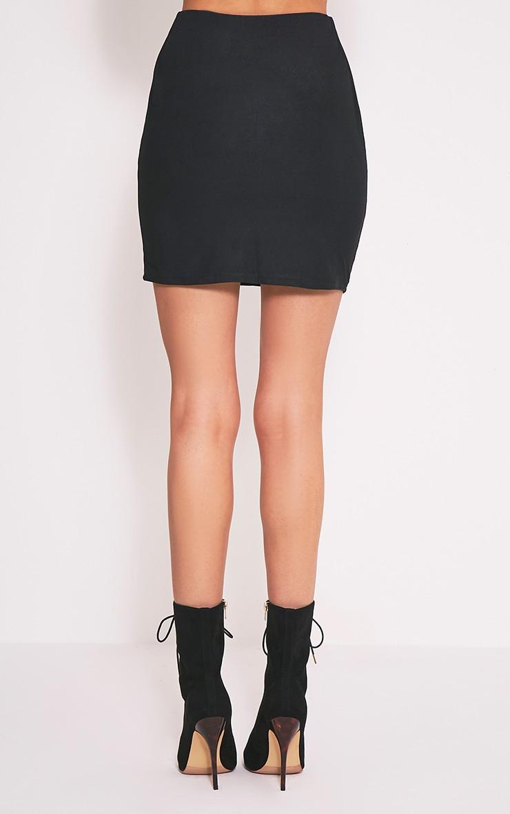 Catalina Black Faux Suede Bodycon Mini Skirt 4