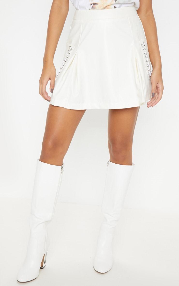 White Faux Leather Pocket Detail Mini Skirt 2