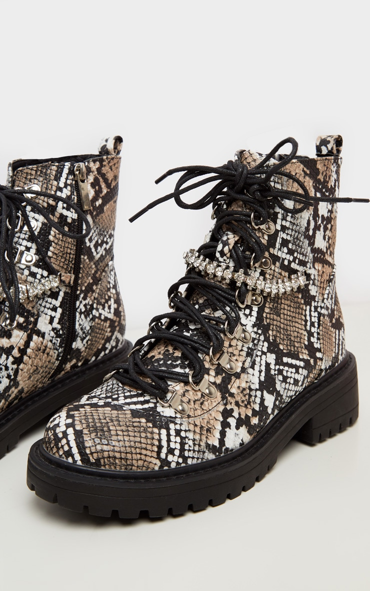 Snake Diamante Detail Hiker Ankle Boots 3