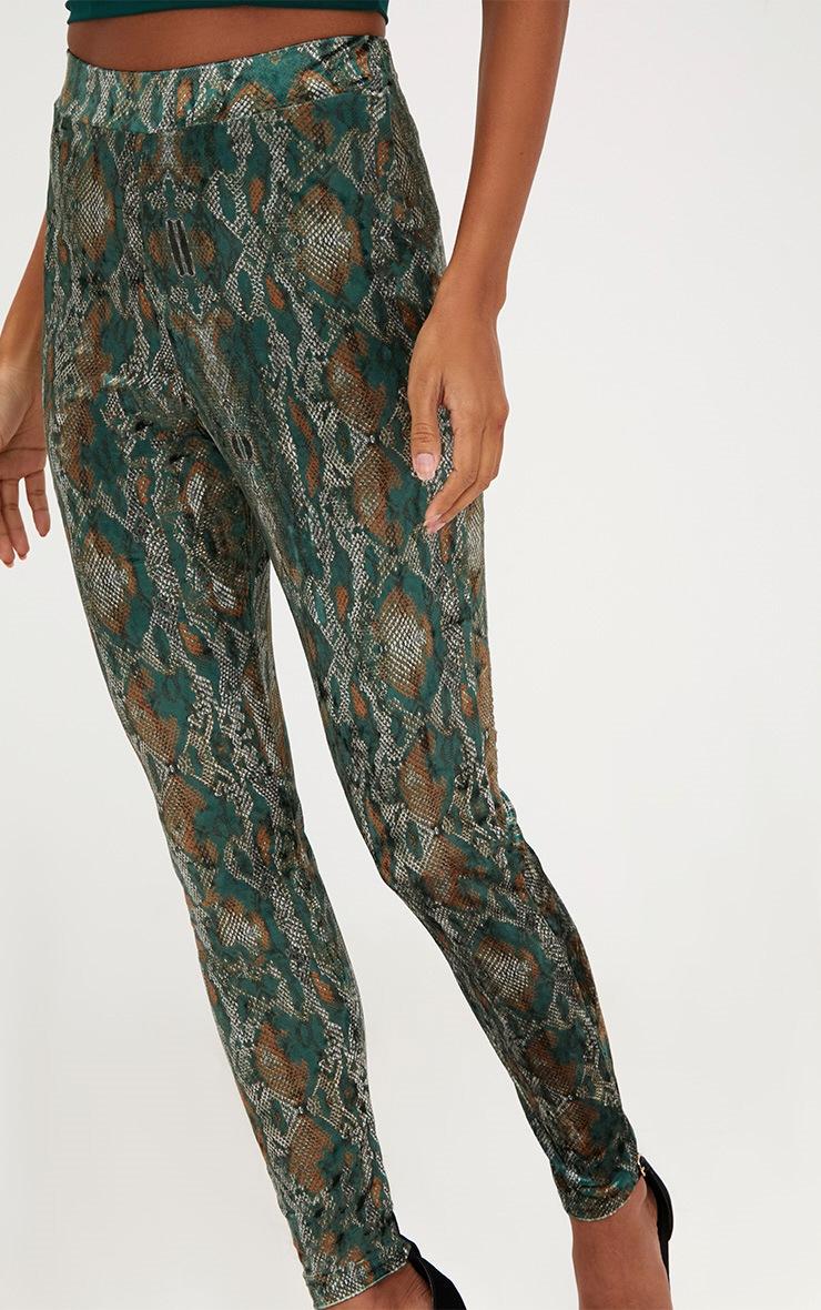 Green Velvet Snake Print Skinny Trousers 5