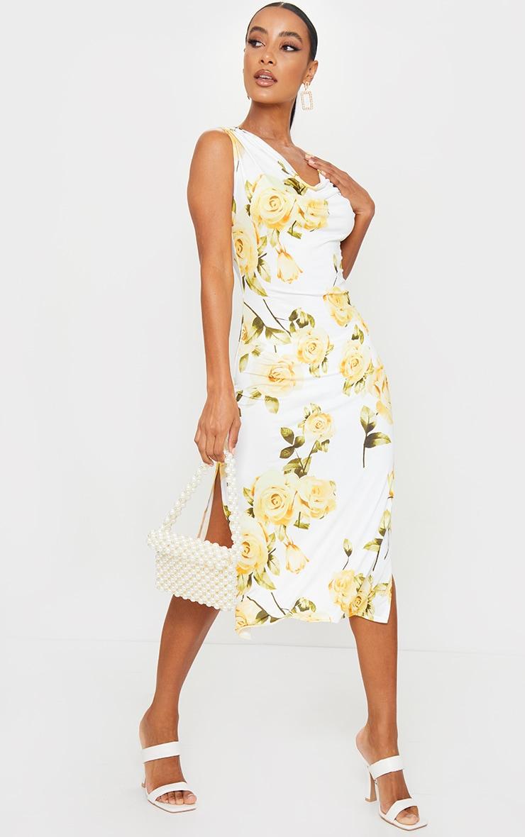 White Floral Cowl Neck Slip Midi Dress 3