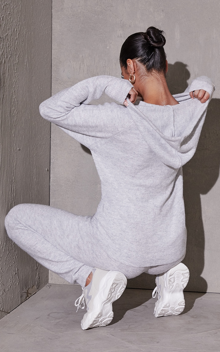 Light Grey Recycled Hoodie And Jogger Knitted Lounge Set 2