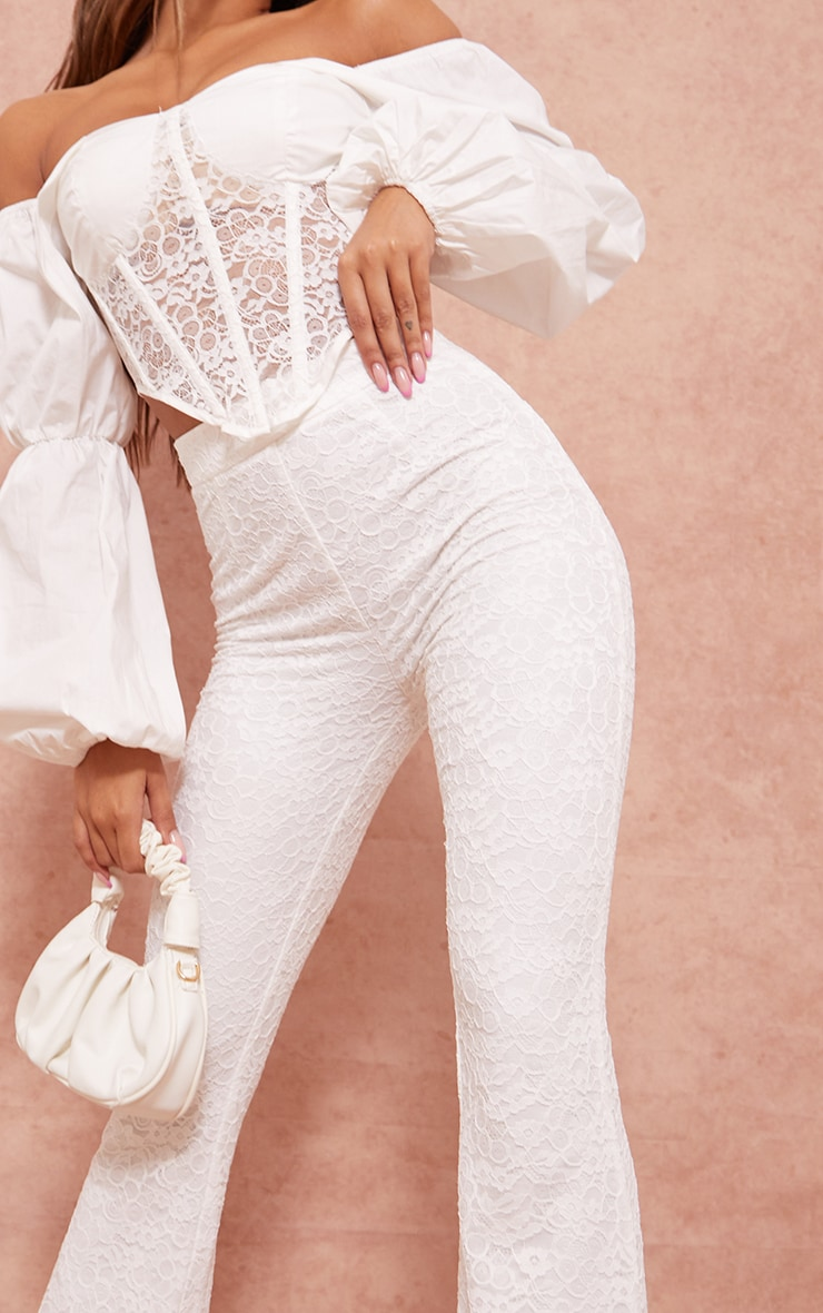 White Woven Lace High Waisted Flared Pants 4