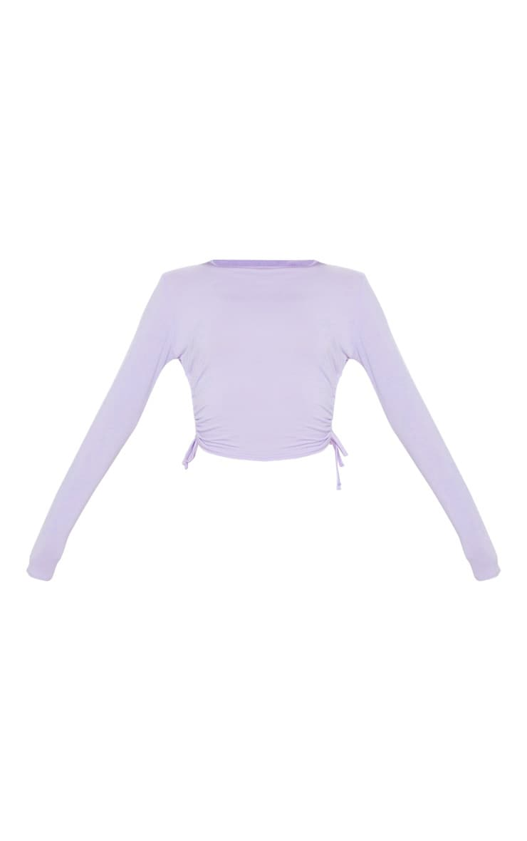 Lilac Jersey Ruched Side Long Sleeve Top 3