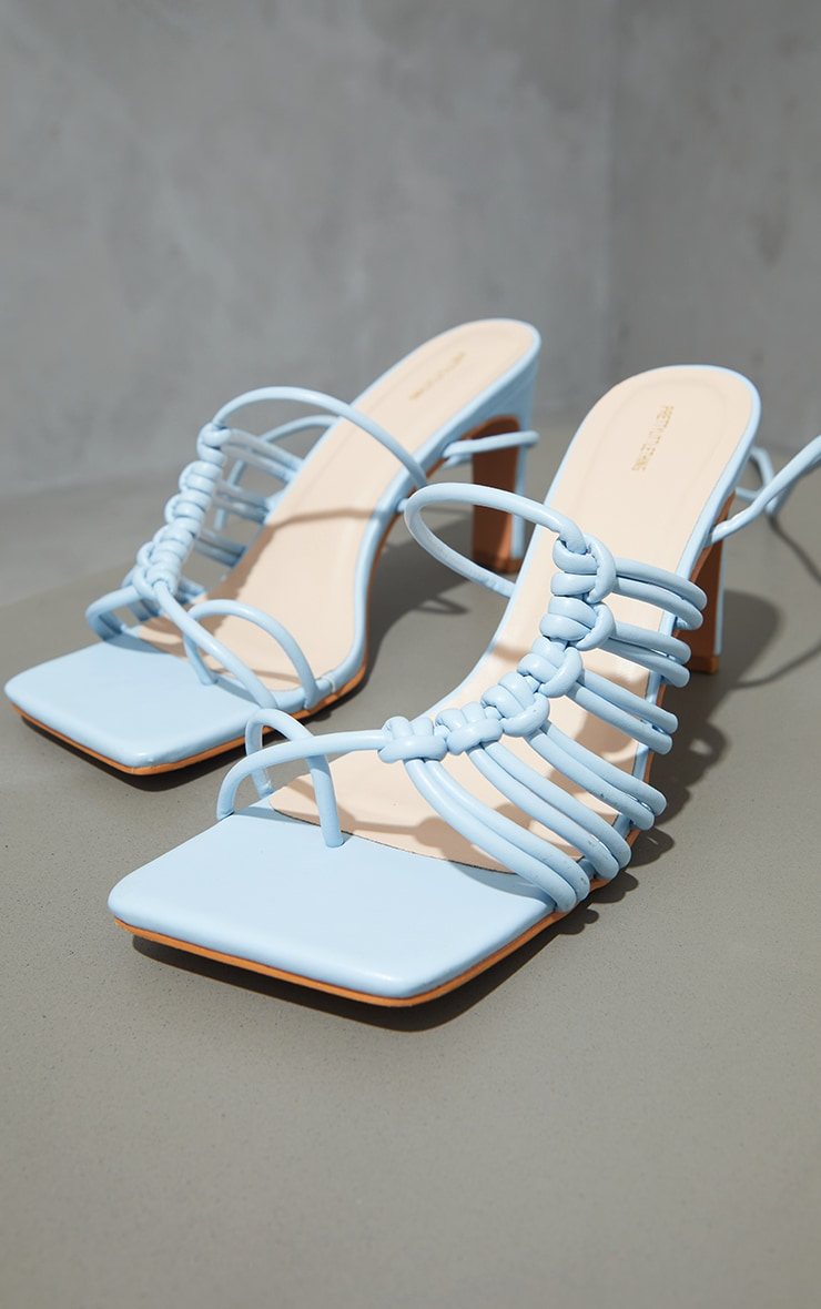 Pale Blue PU Toe Loop Knot Side Detail Lace Up Flat Heeled Sandals 4