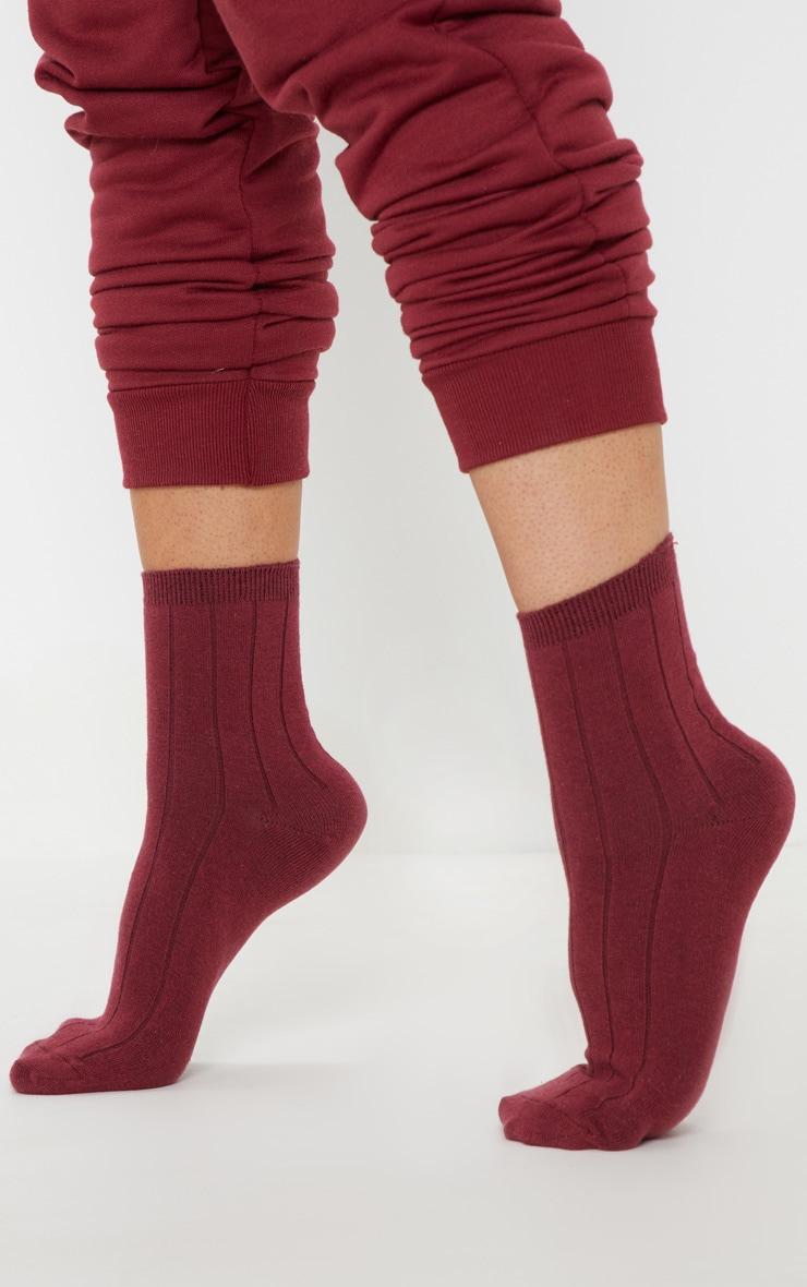 Burgundy Ribbed Ankle Socks 2