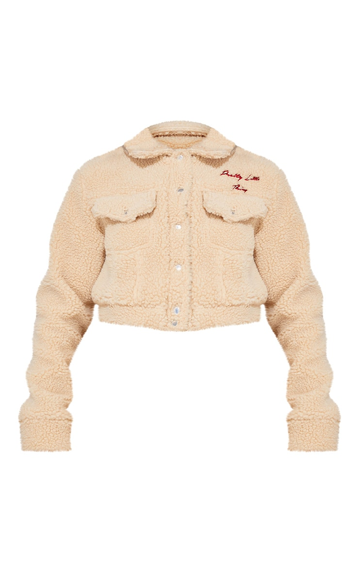 PRETTYLITTLETHING Cream Borg Embroidered Crop Jacket 4