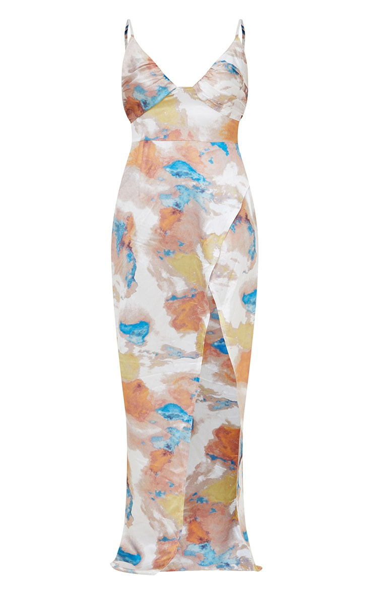 Multi Printed Ruched Bust Satin Maxi Dress 5