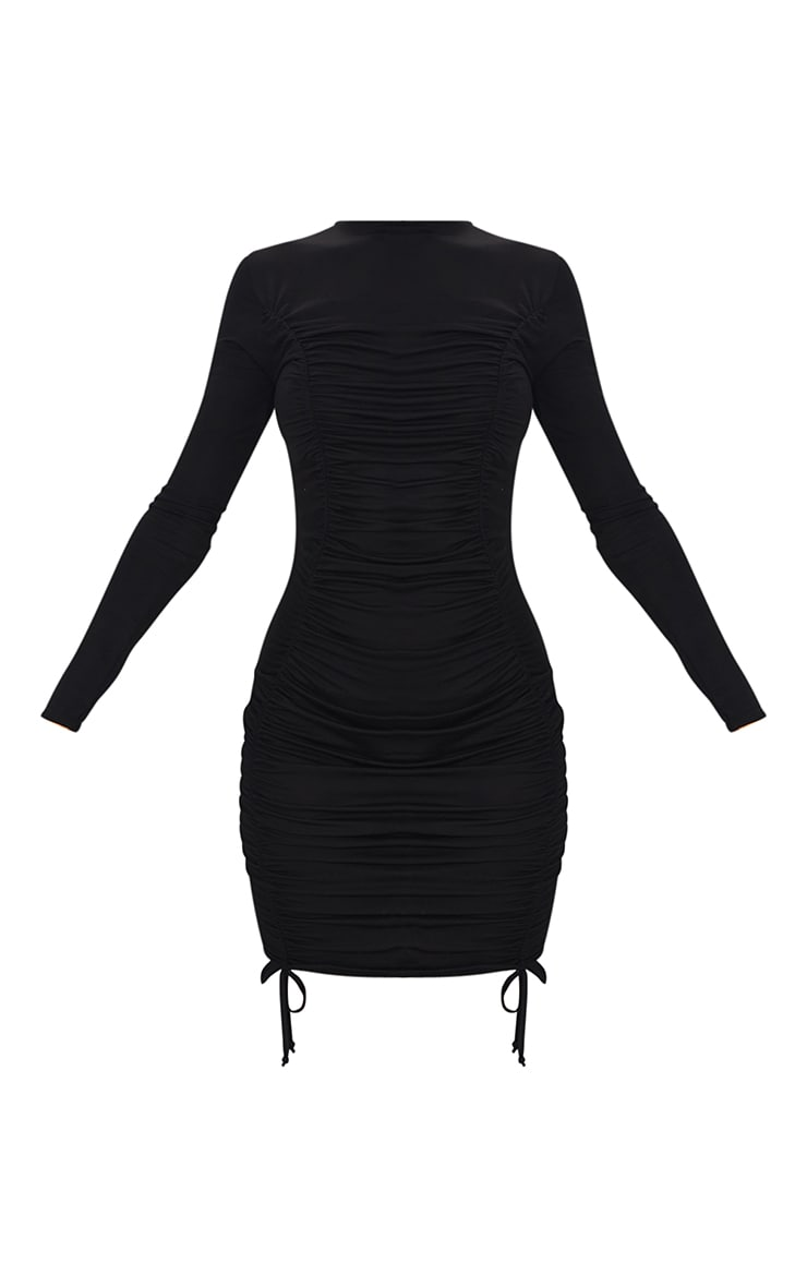 Black Double Ruched Detail Long Sleeve Bodycon Dress 5
