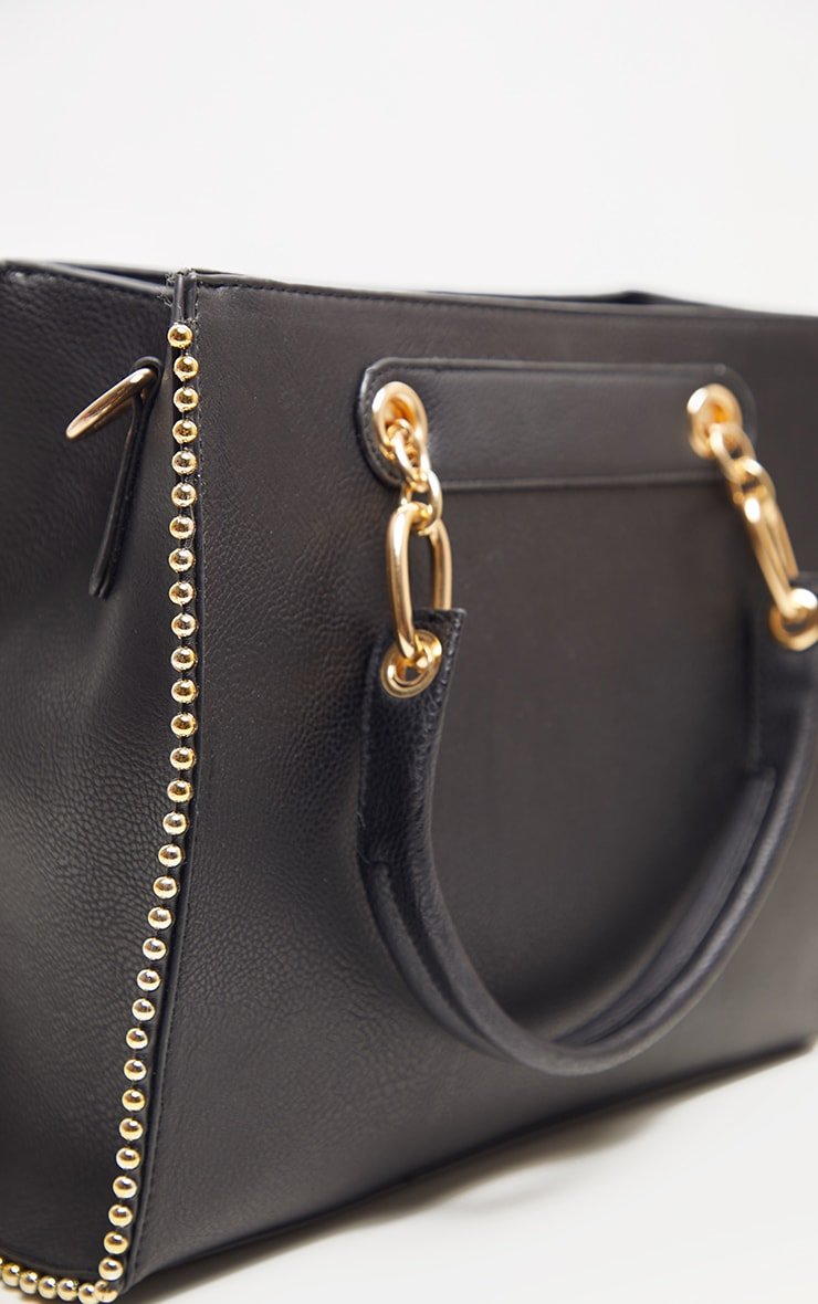 Black PU Bobble Chain Detail Tote Bag 3