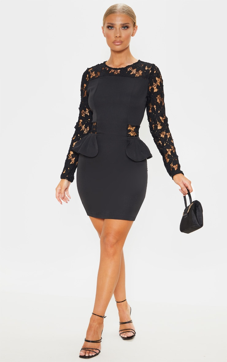 Black Lace Long Sleeve Frill Detail Bodycon Dress 1