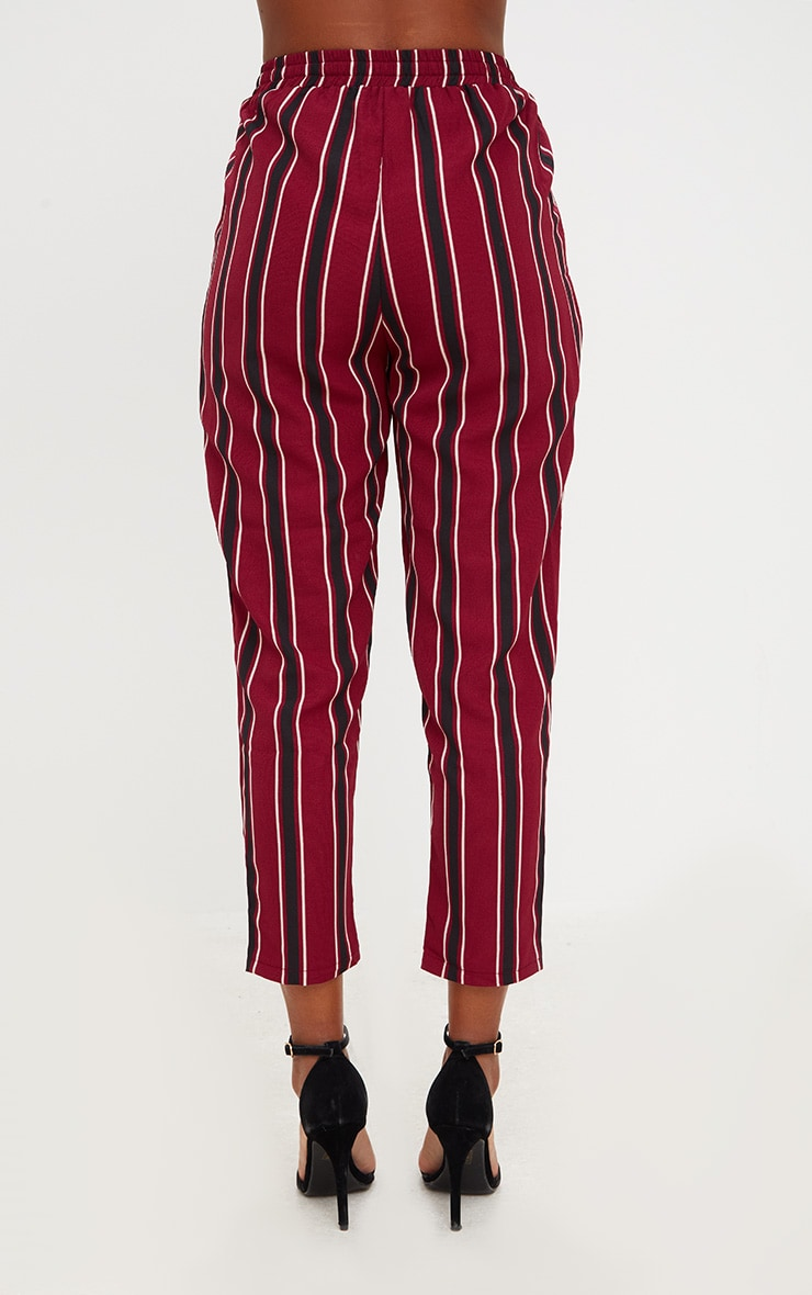 Burgundy Multi Stripe Casual Trousers 4