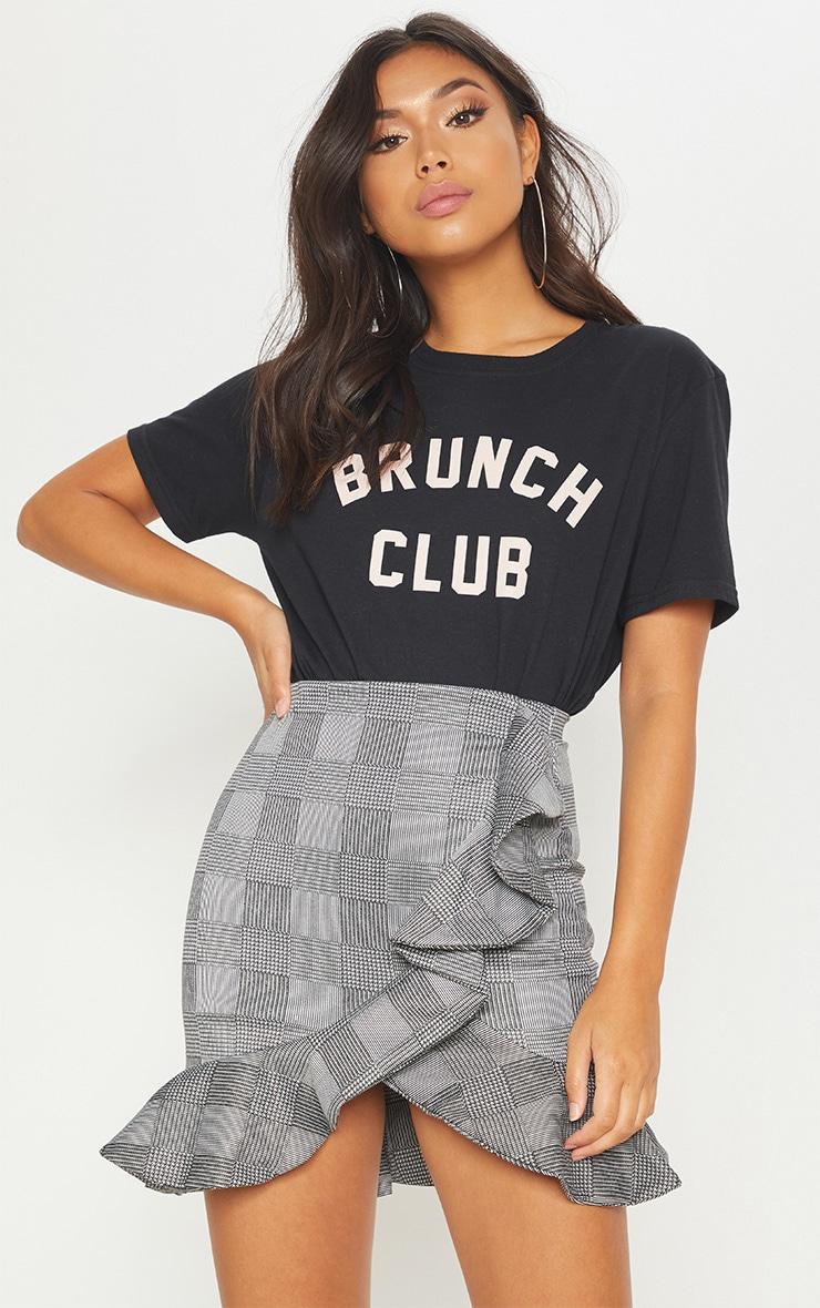 Black Check Frill Detail Mini Skirt