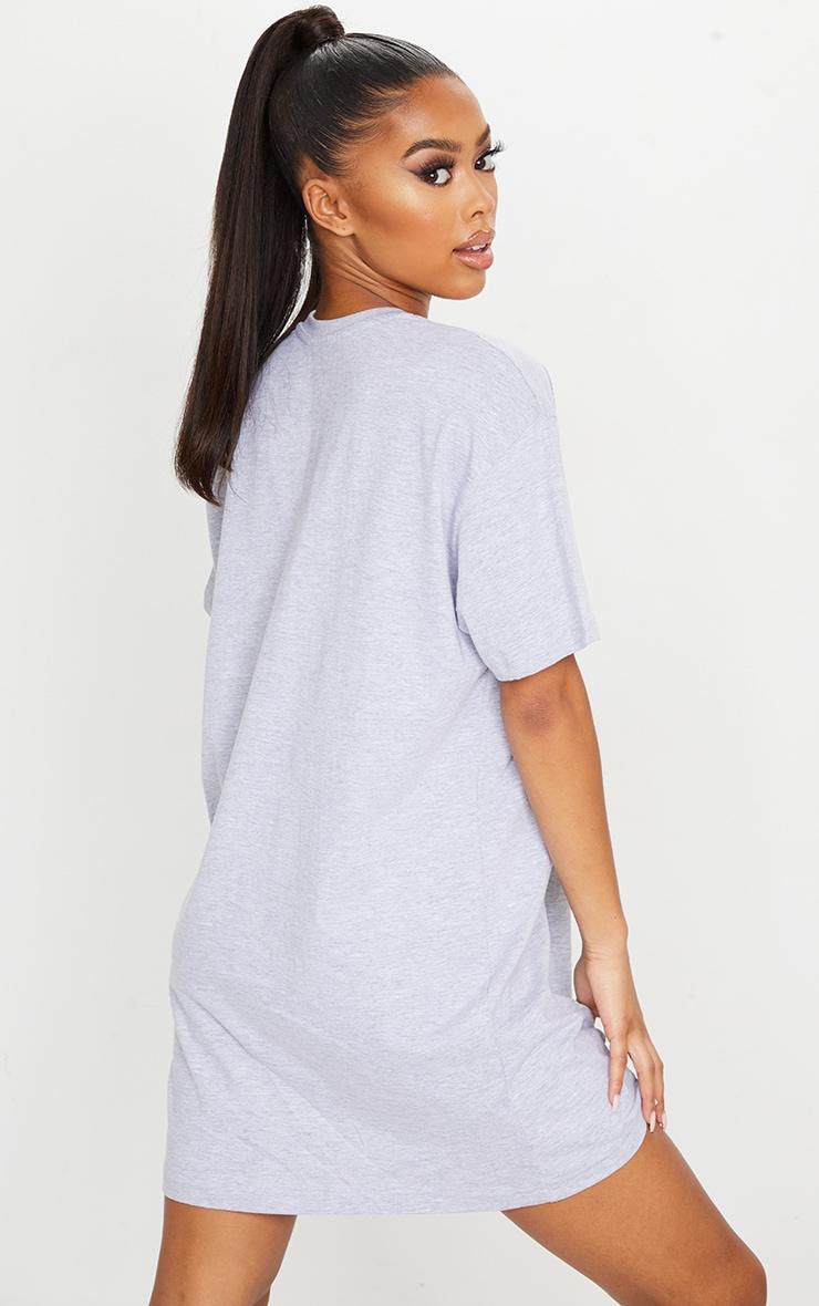 Grey Big Notorious Slogan T Shirt Dress 2