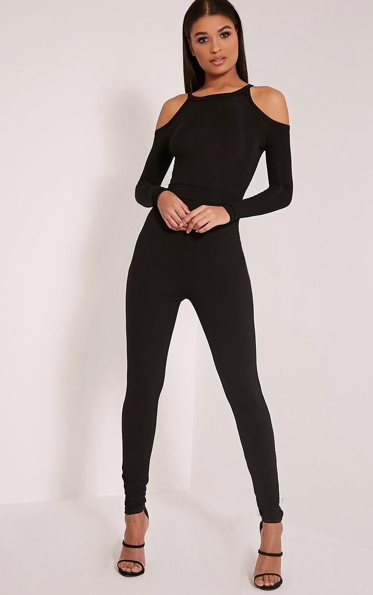 Bessy Black Cold Shoulder Jumpsuit 1