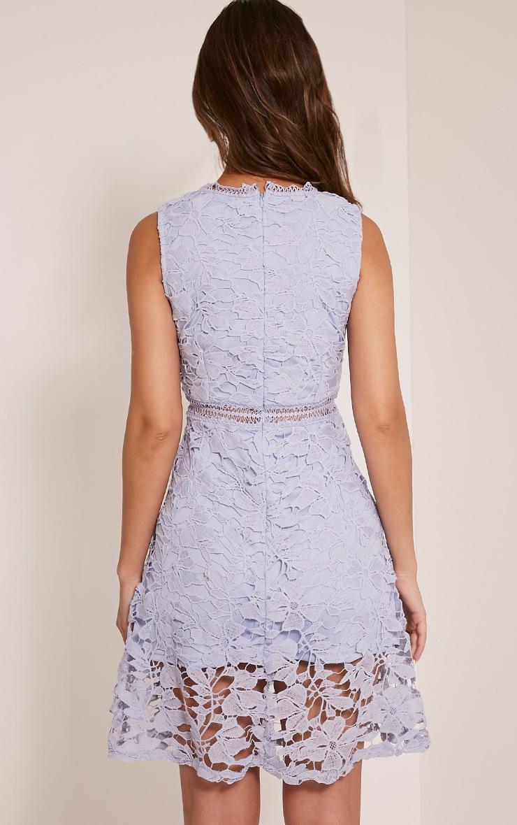 Roxy robe midi bleu pâle en dentelle crochetée 2