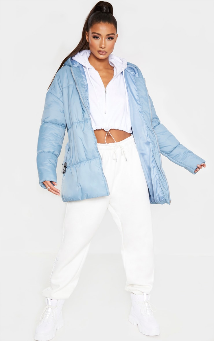 Baby Blue Hooded Midi Belted Puffer Jacket 4