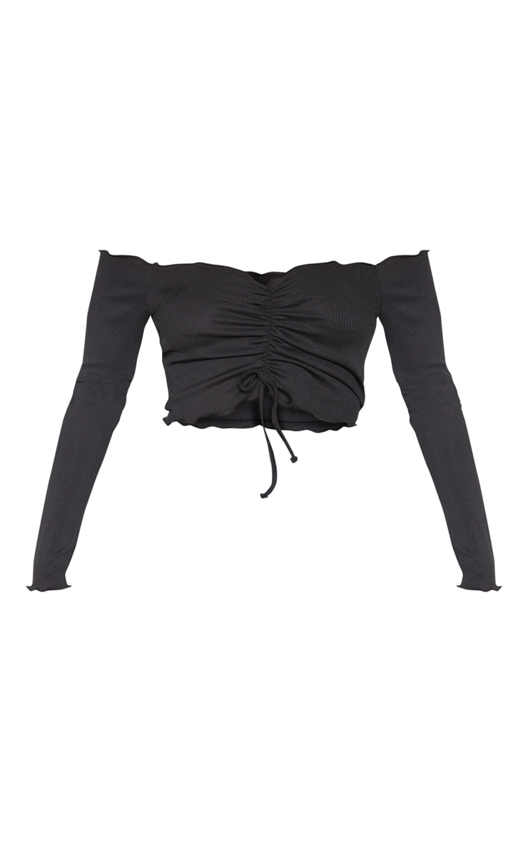 Black Rib Frill Long Sleeve Bardot Top 3