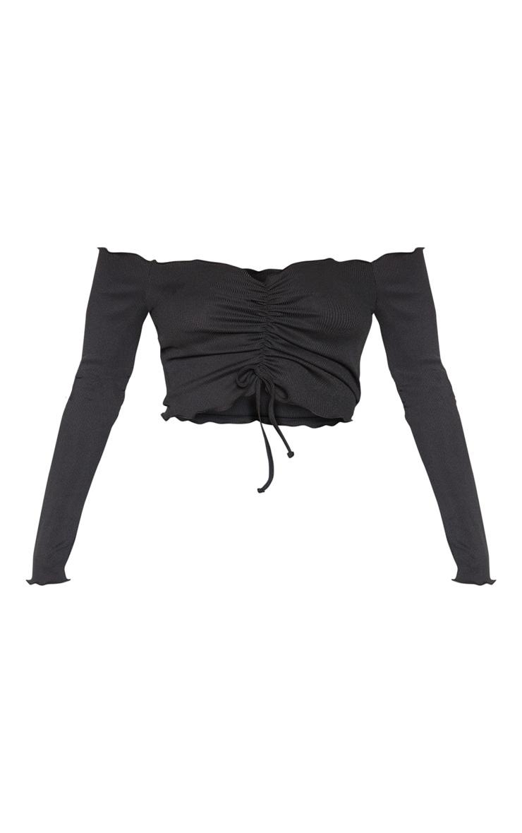Black Rib Frill Long Sleeve Bardot Top 1