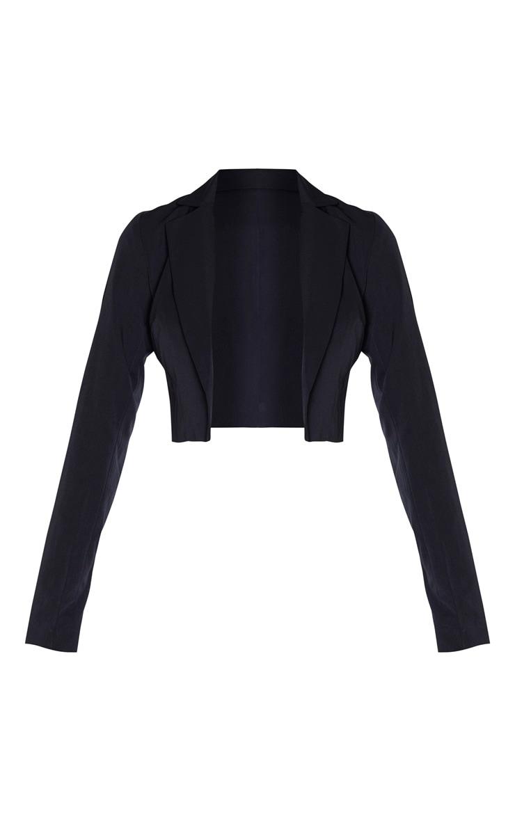 Tall Black Woven Cropped Blazer 3