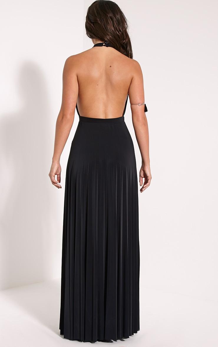 Lorelei Black Halterneck Pleated Maxi Dress 2