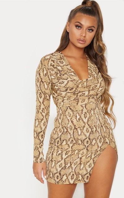 f2dfcf71109 Beige Snake Print Cowl Neck Bodycon Dress PrettyLittleThing Sticker