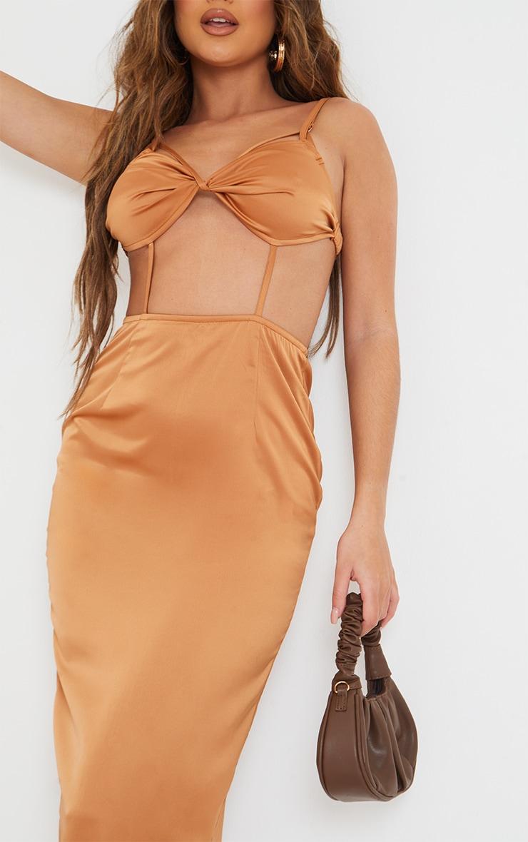 Chocolate Strappy Bralette Detail Cut Out Midi Dress 4