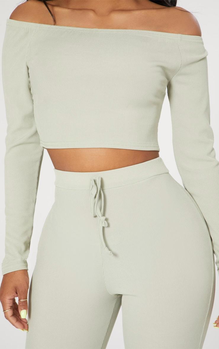 Shape Sage Green Ribbed Bardot Long Sleeve Crop Top 5