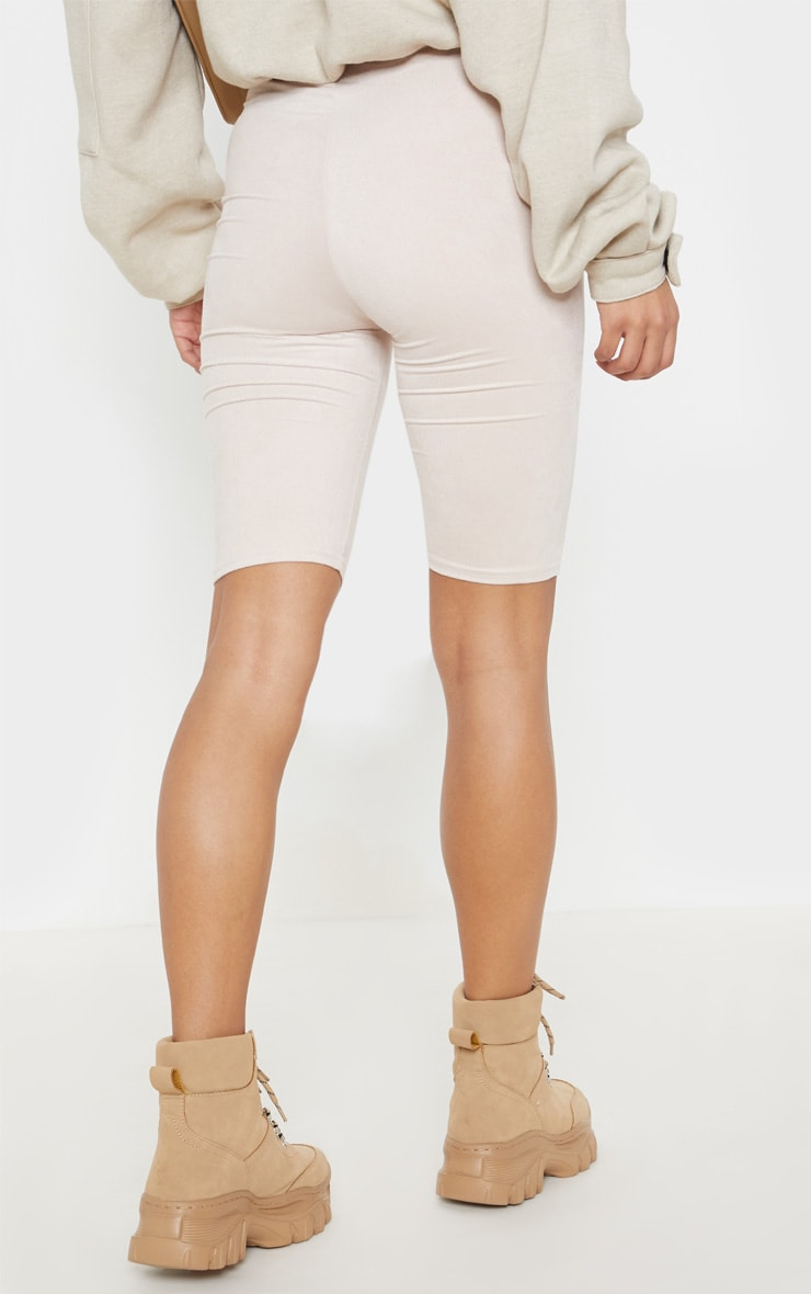 Beige Faux Suede Bike Short 4