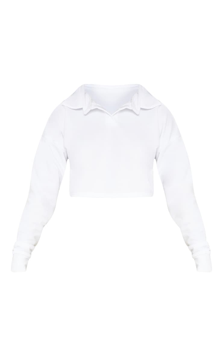 White Collar Polo Long Sleeve Crop Top 3