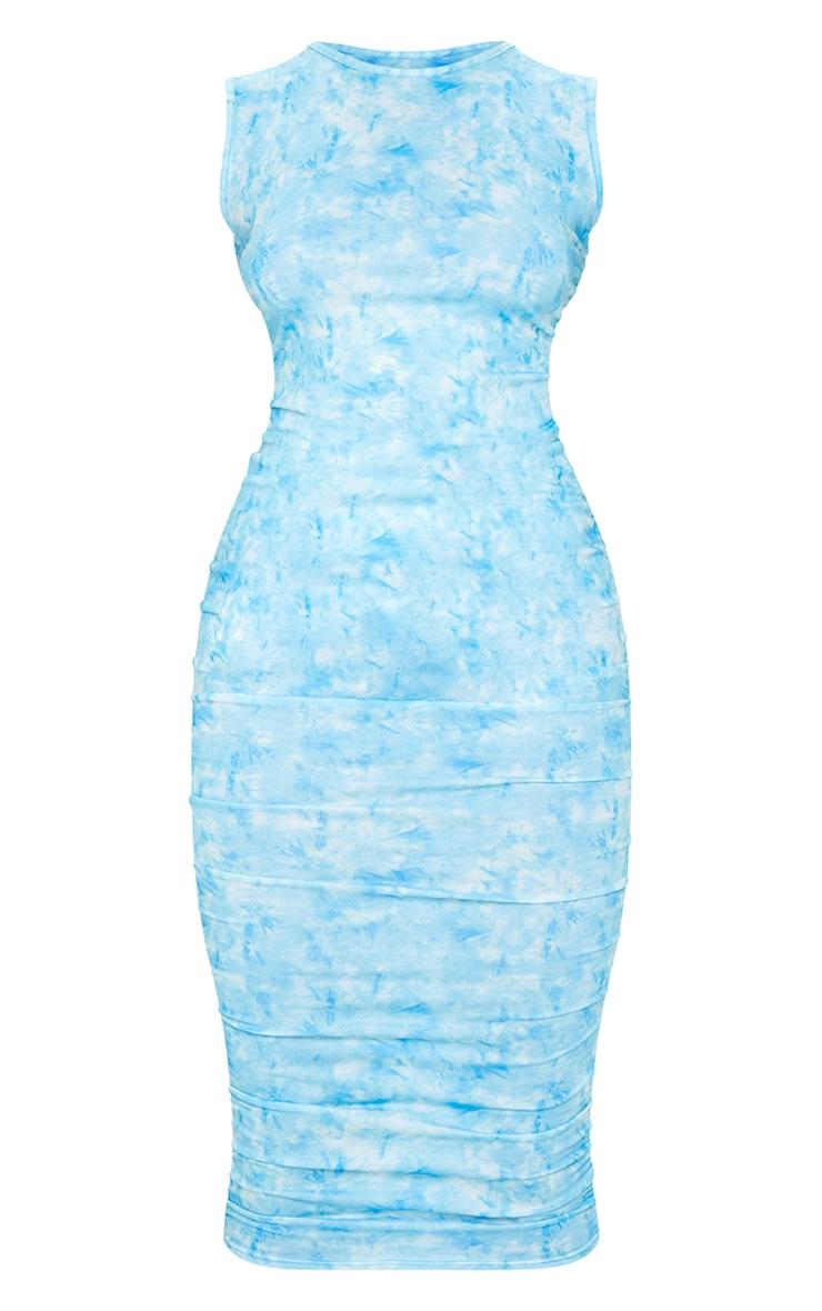Blue Tie Dye Sleeveless Crew Neck Ruched Side Midi Dress 5