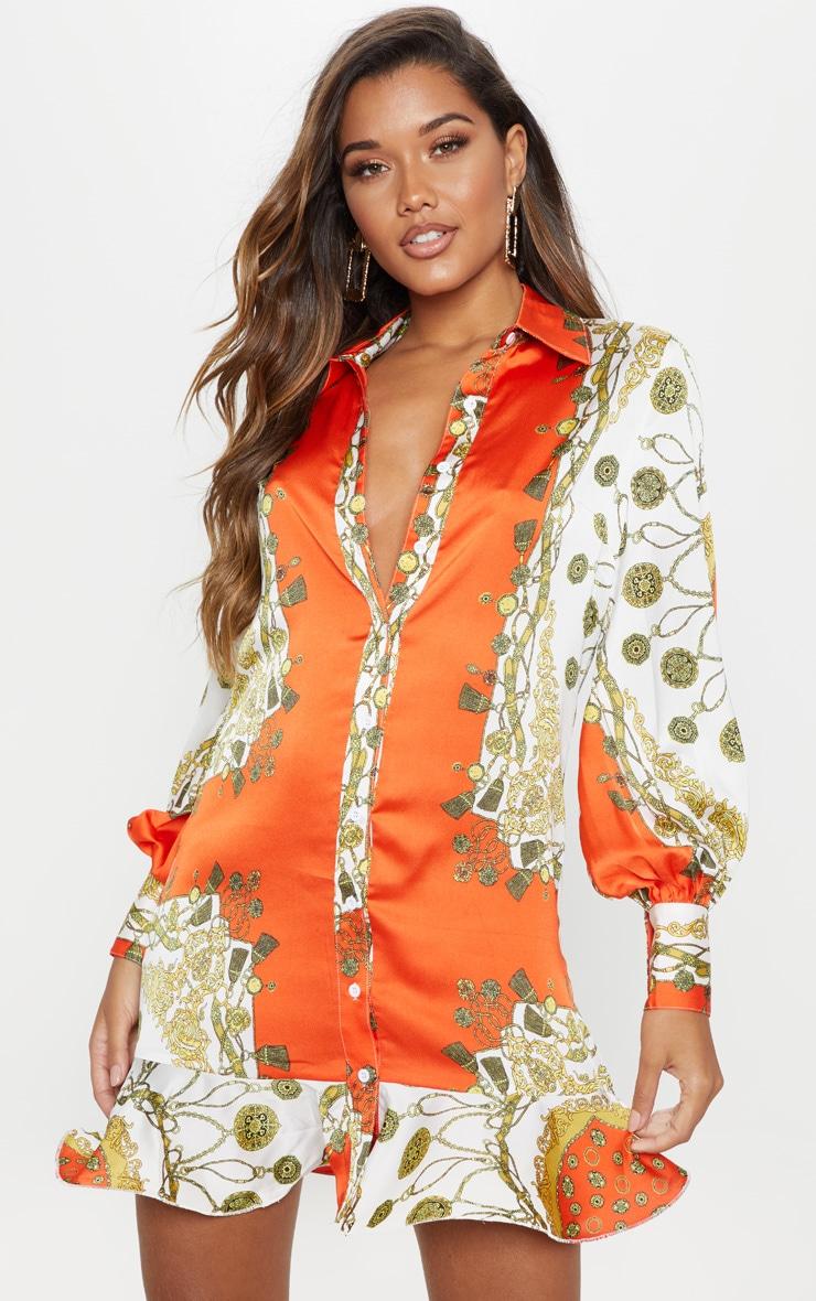 Orange Chain Print Frill Hem Shirt Dress 1