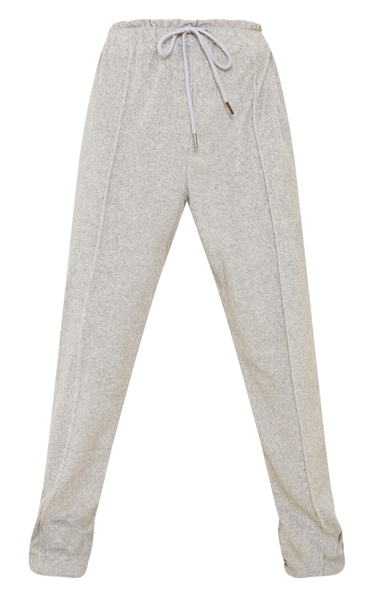 Grey Pintuck Detail Towelling Tapered Joggers 5