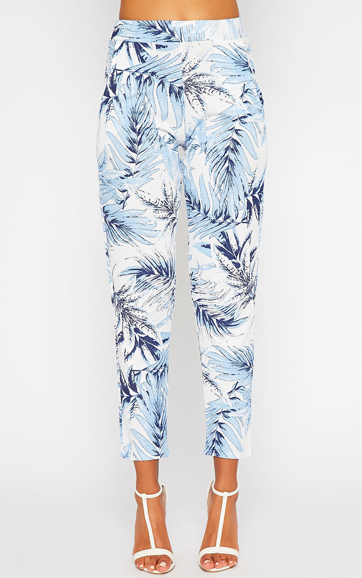 Perrien Blue Palm Print Trousers 2