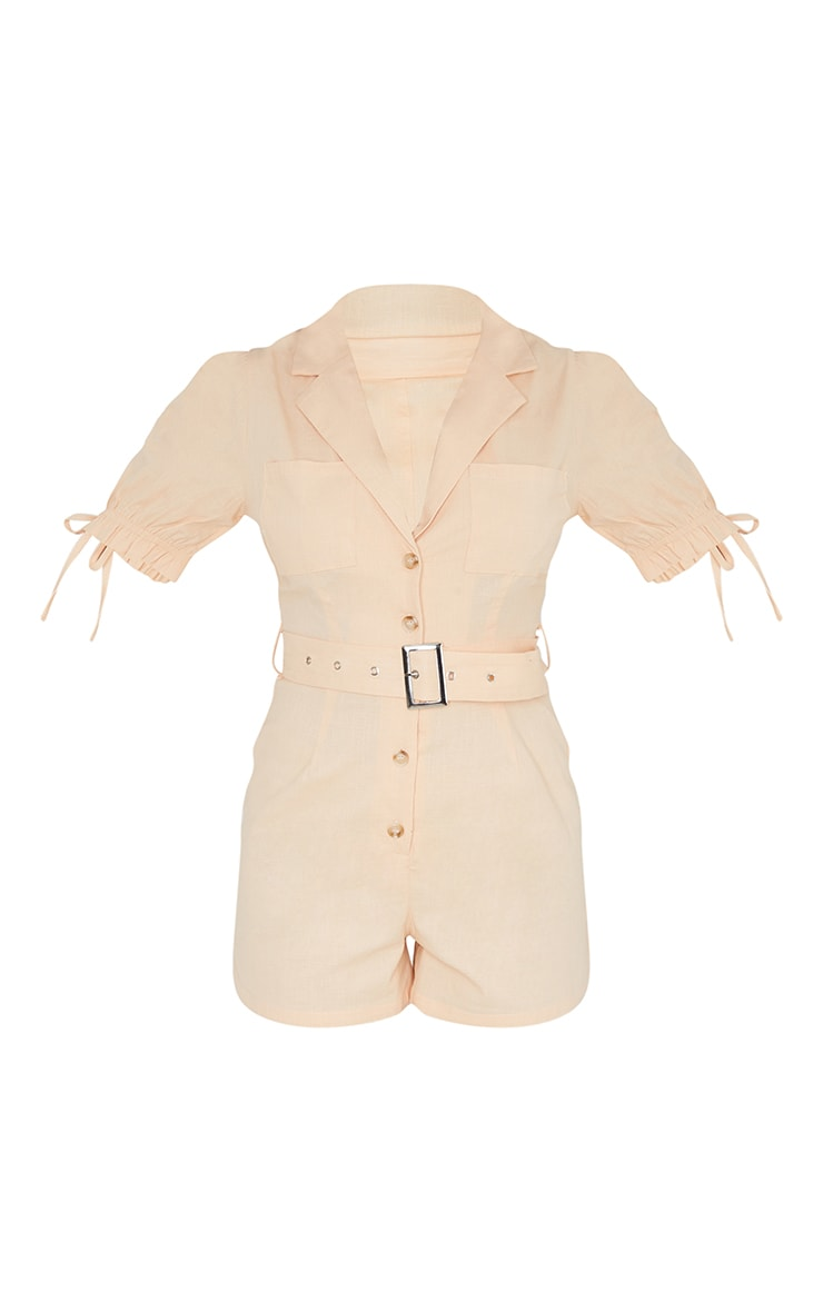 Peach Linen Look Puff Sleeve Belted Romper 5