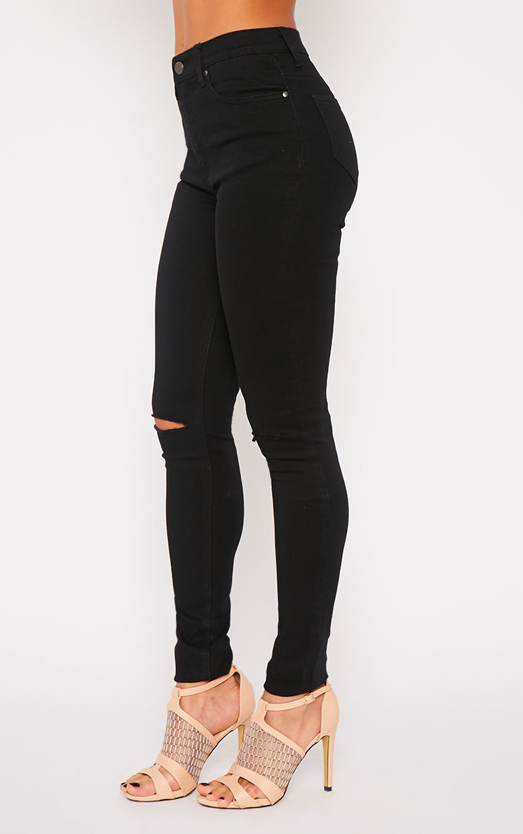 Kate Black Mid Rise Ripped Skinny Jean 3