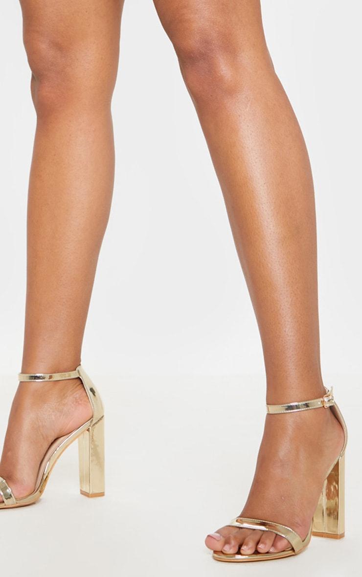 Clover Gold Metallic Strap Heeled Sandals 1