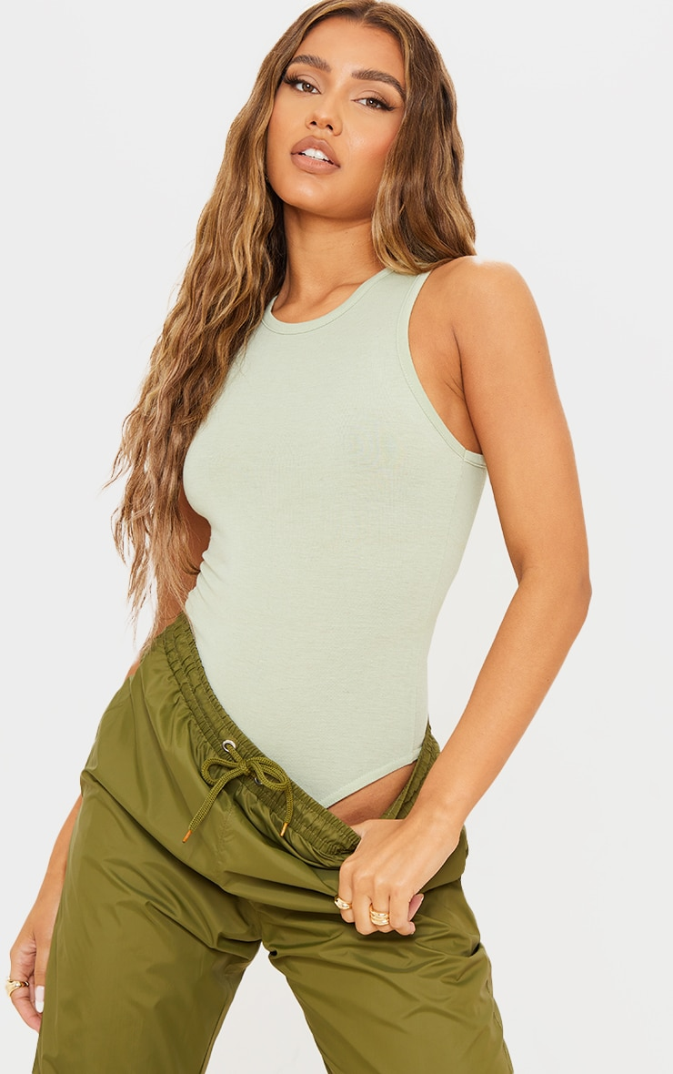 Green Melange Racer Neck Sleeveless Bodysuit 1