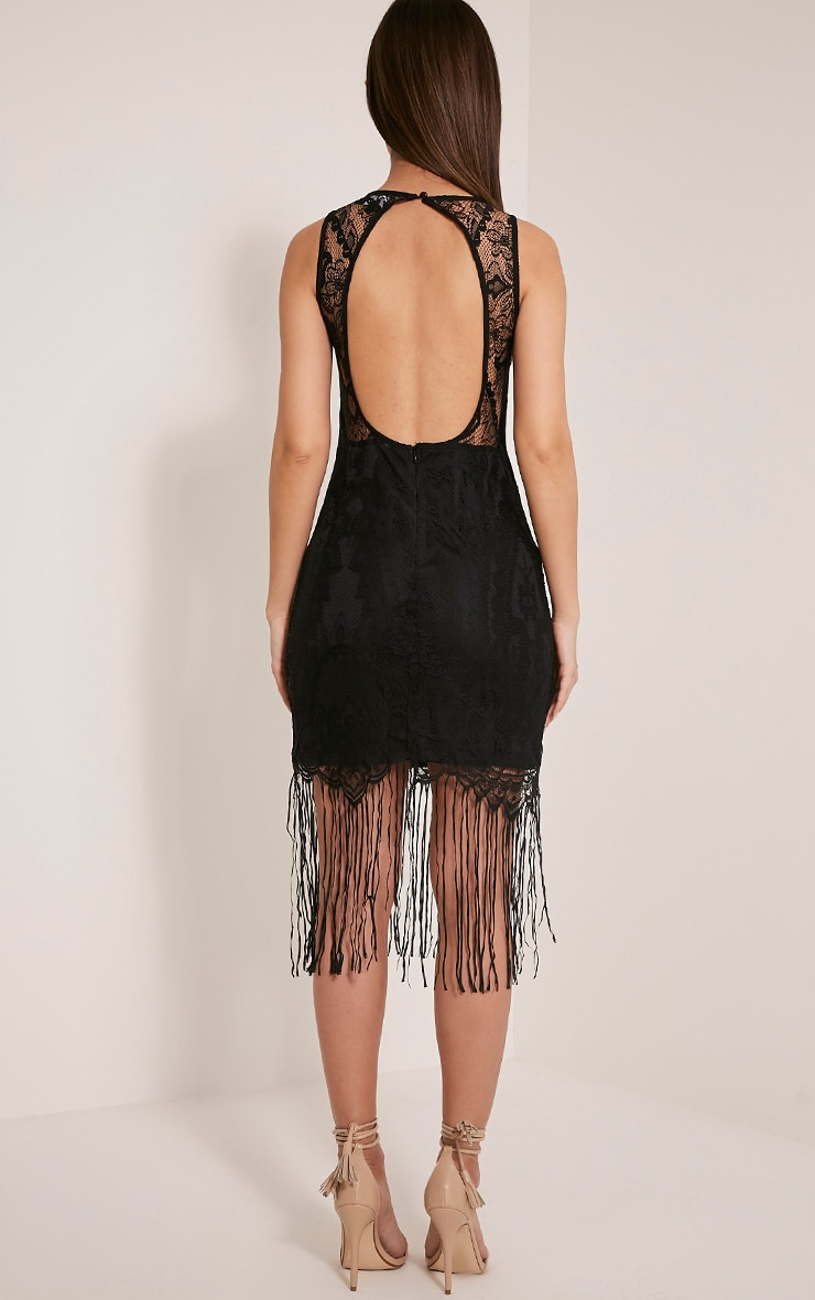 Aleesha Black Open Back Lace Tassel Bodycon Dress 2