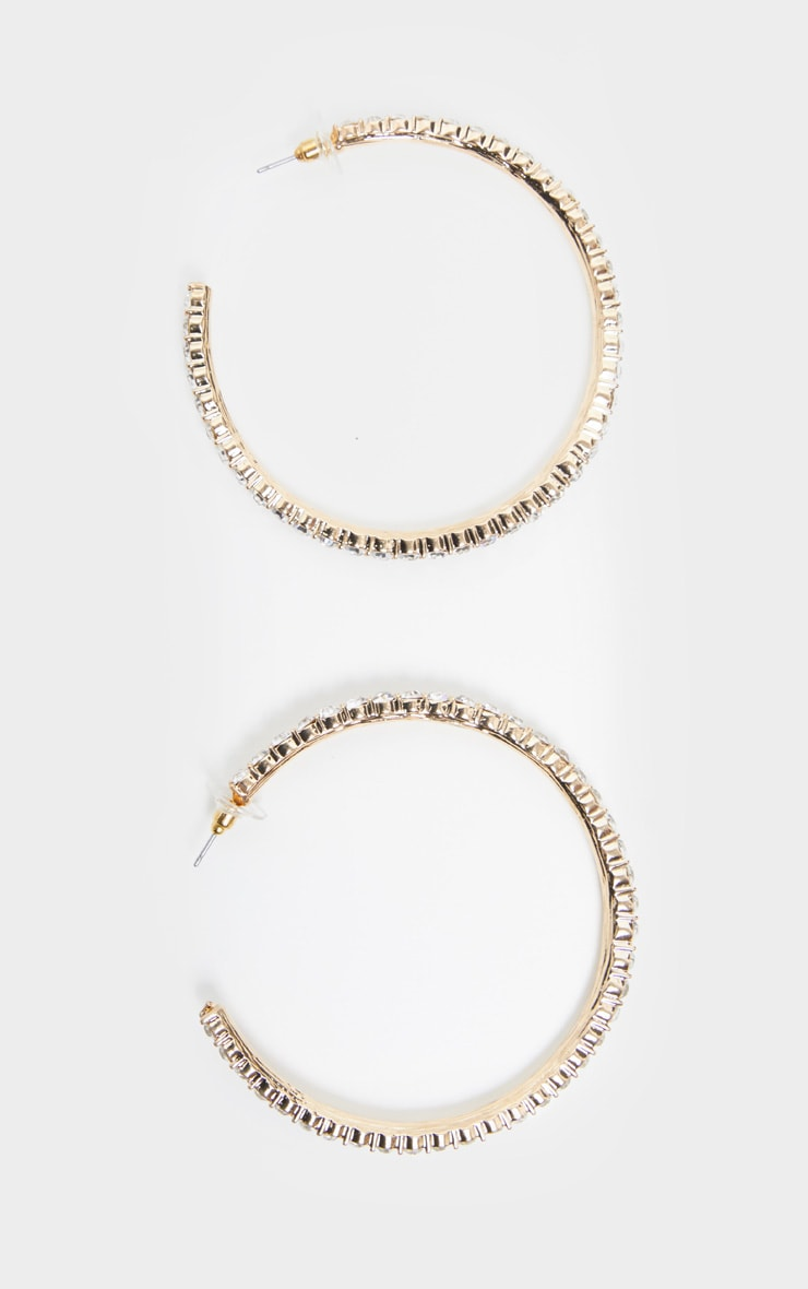 Crystal Diamante Row Hoop Earrings 2
