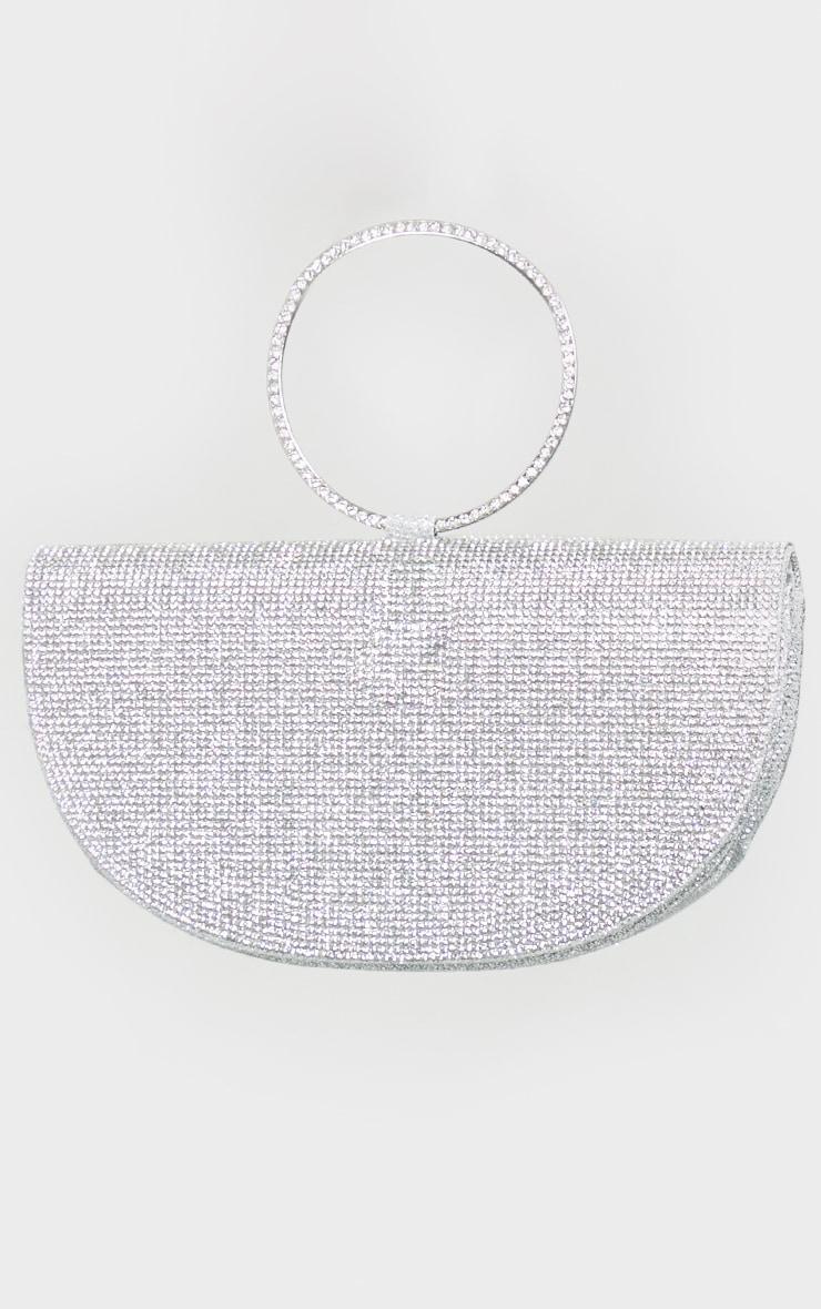 Silver Diamante Semi Circle Clutch 2