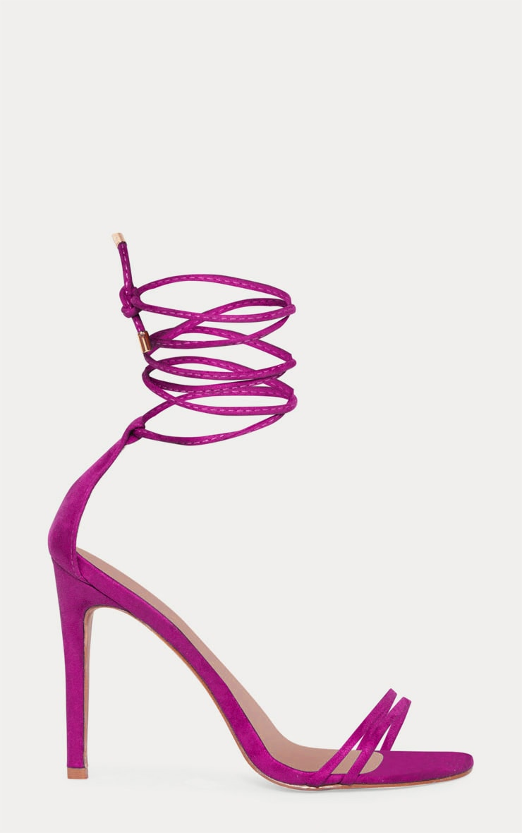 Fuchsia Strappy Barely There Ankle Tie Sandal 3