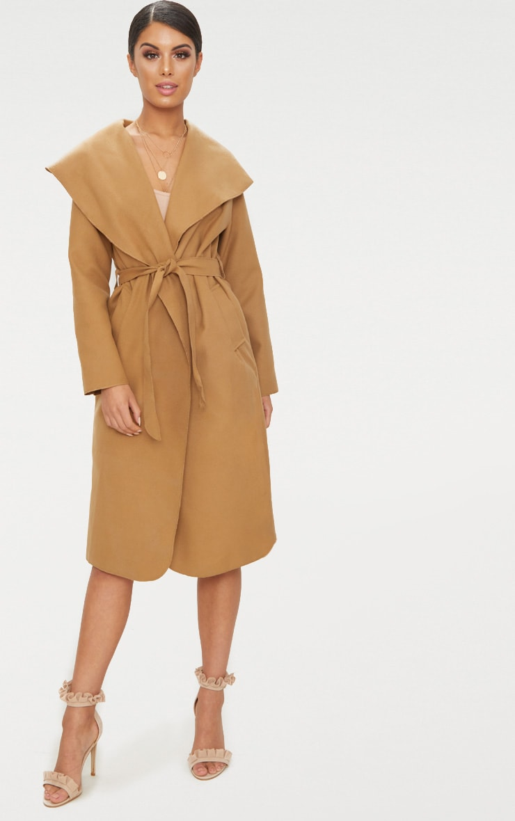 Veronica Camel Oversized Waterfall Belt Coat 1