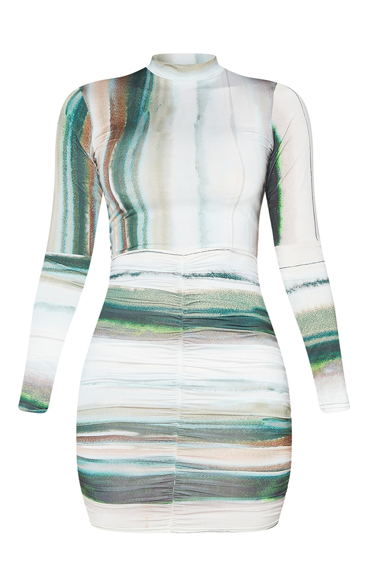 Green Printed Slinky High Neck Ruched Skirt Bodycon Dress 5